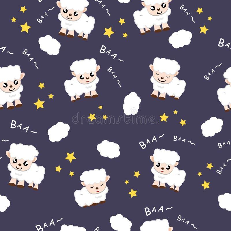 Illustrazione animale di sogno dolce di vettore del fondo della raccolta del fumetto del tessuto del fondo di sonno delle pecore  illustrazione vettoriale