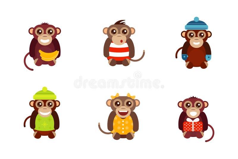 Illustrazione animale di vettore del carattere di divertimento della scimmia royalty illustrazione gratis