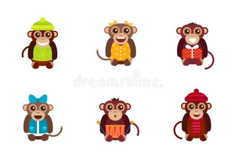 Illustrazione animale di vettore del carattere di divertimento della scimmia illustrazione di stock