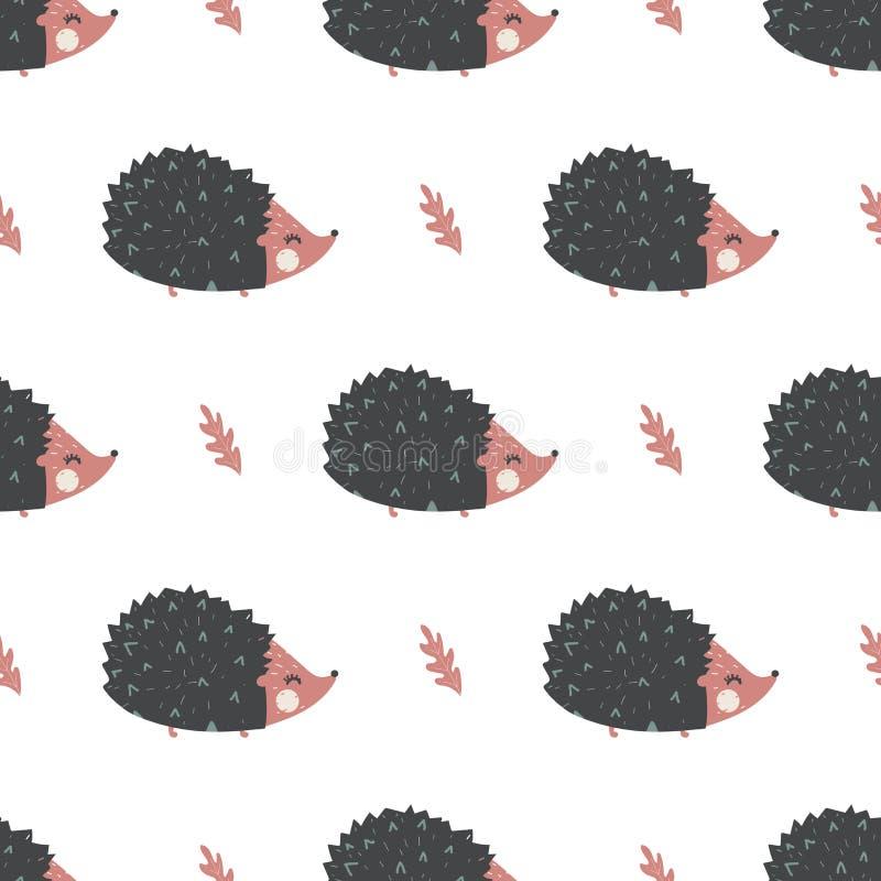 Illustrazione animale di vettore del modello dell'istrice sveglio senza cuciture illustrazione di stock