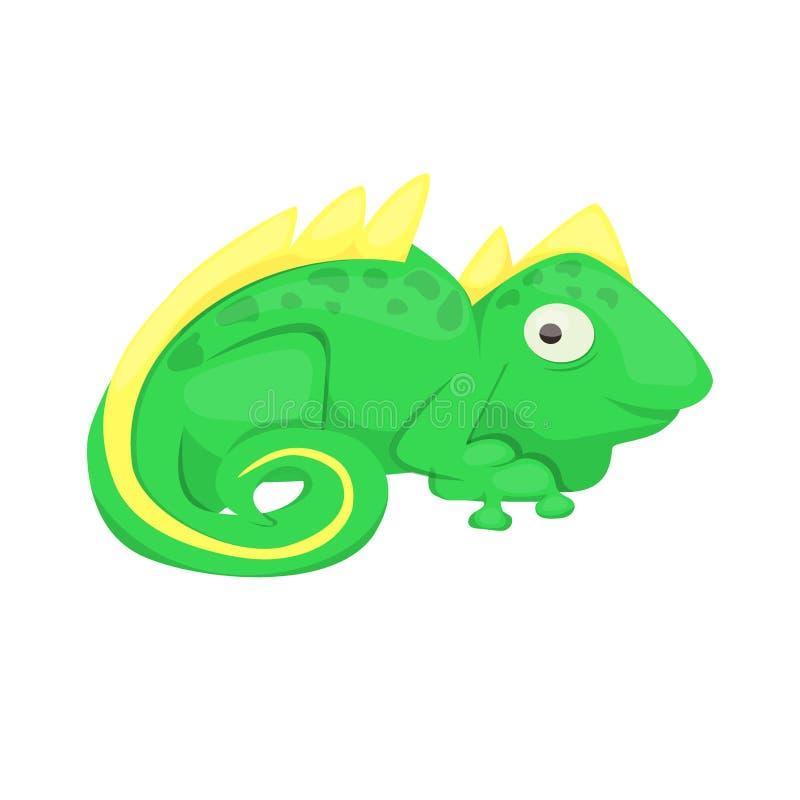 Illustrazione animale di vettore del rettile di verde del carattere della lucertola del fumetto dell'iguana illustrazione vettoriale