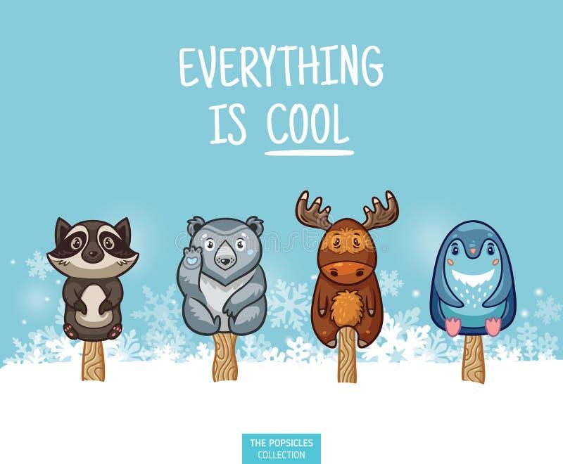 Illustrazione animale sveglia dei ghiaccioli Insieme del gelato di vettore illustrazione di stock