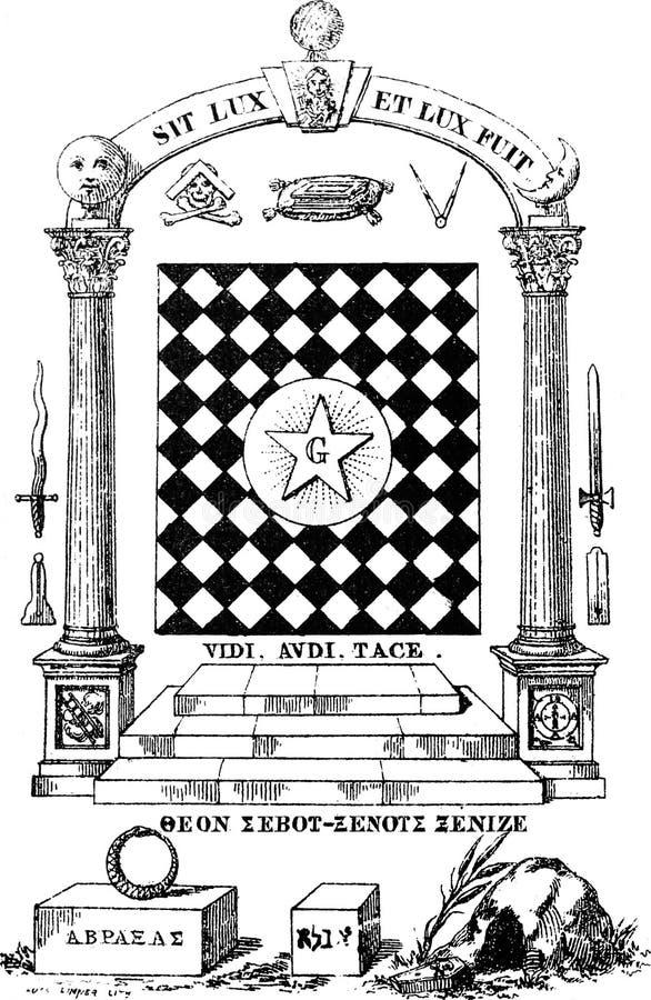 Illustrazione antica d'annata del freemason illustrazione di stock