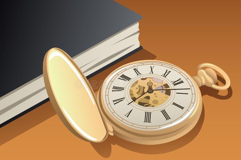 Illustrazione antica dell'orologio da tasca dell'oro illustrazione vettoriale