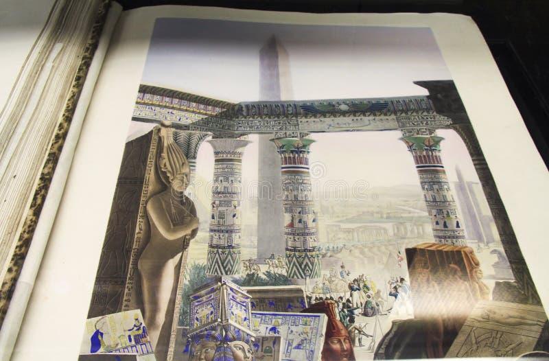 Illustrazione antica di Civlization dell'Egiziano in Alexandria Library antica immagine stock libera da diritti