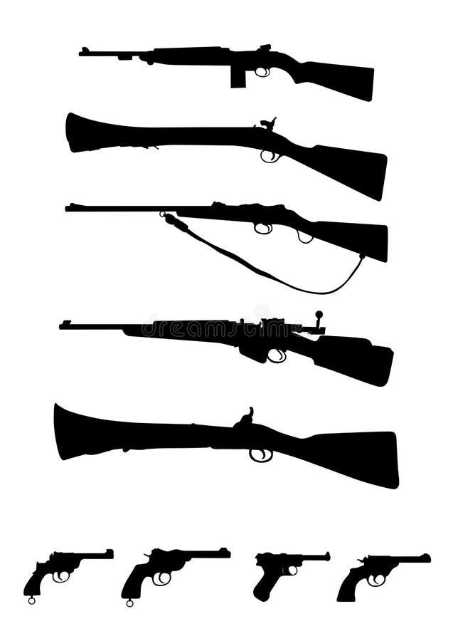 Illustrazione antica di vettore delle pistole e dei fucili delle armi fotografie stock libere da diritti