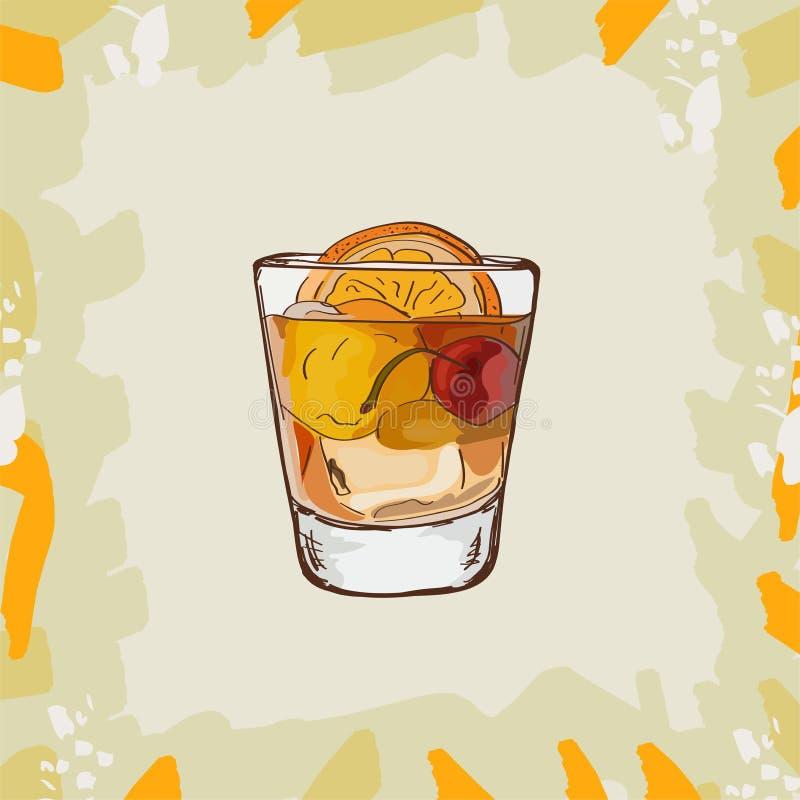 Illustrazione antiquata del cocktail Vettore disegnato a mano della bevanda classica alcolica della barra Pop art illustrazione vettoriale