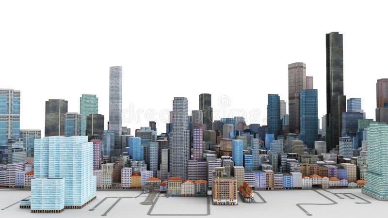 Illustrazione architettonica del modello 3D di grande città su una b bianca royalty illustrazione gratis