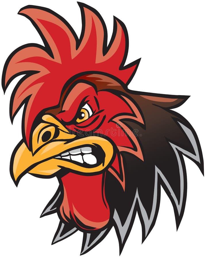Illustrazione arrabbiata della testa della mascotte del gallo del fumetto illustrazione di stock