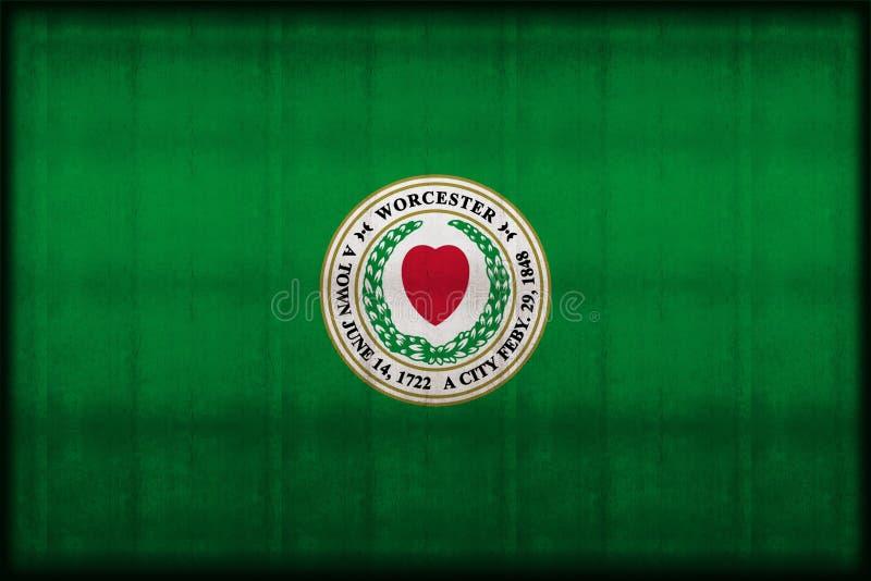 Illustrazione arrugginita della bandiera di Worcester Massachusetts illustrazione di stock