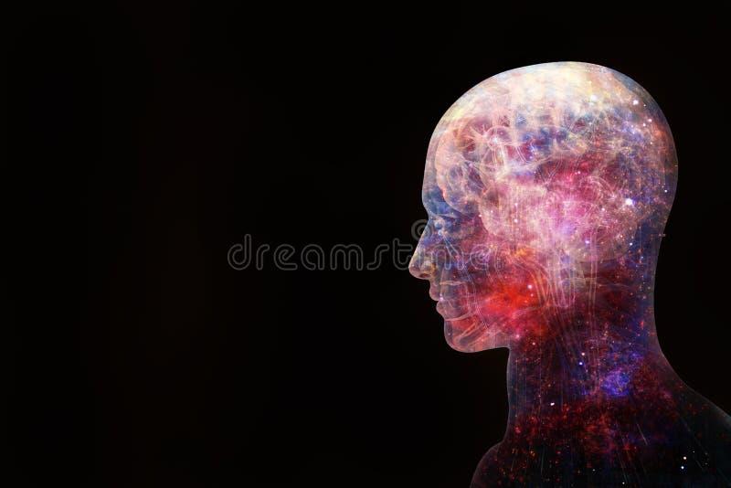 Illustrazione artistica astratta 3d di un'interfaccia intelligente artificiale umana moderna su un fondo nero illustrazione vettoriale