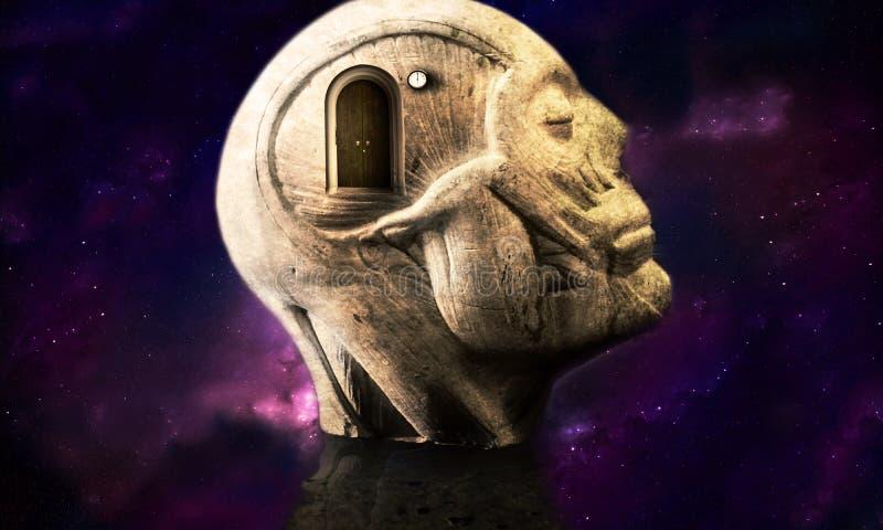 Illustrazione artistica 3d di una struttura capa umana dell'estratto galattico regolare che fa meditazione illustrazione di stock