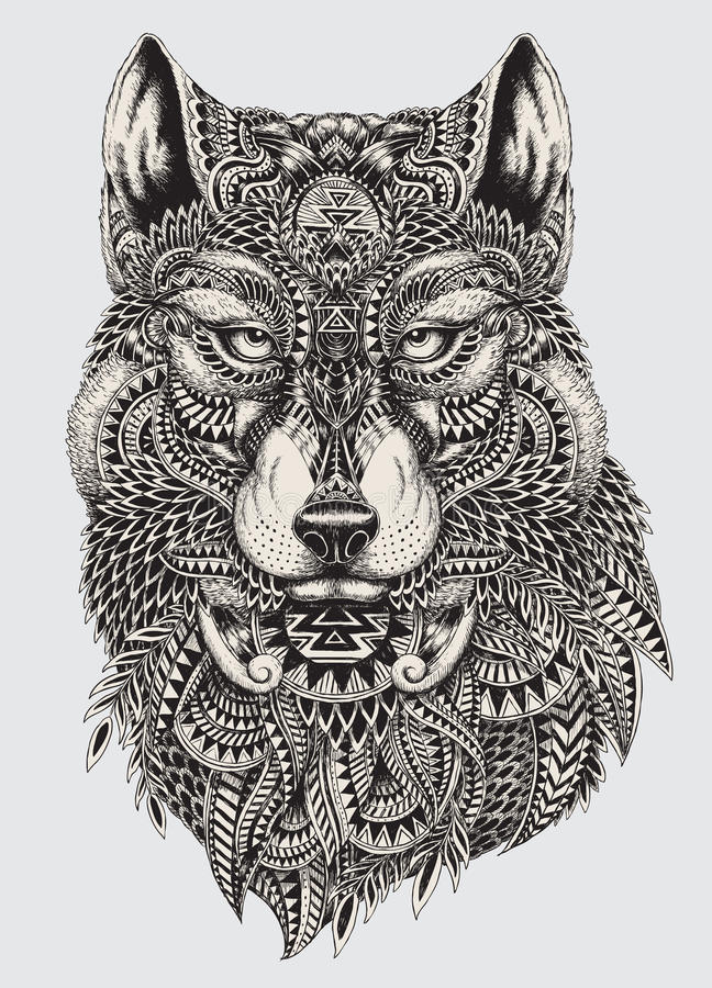 Illustrazione astratta altamente dettagliata del lupo illustrazione vettoriale