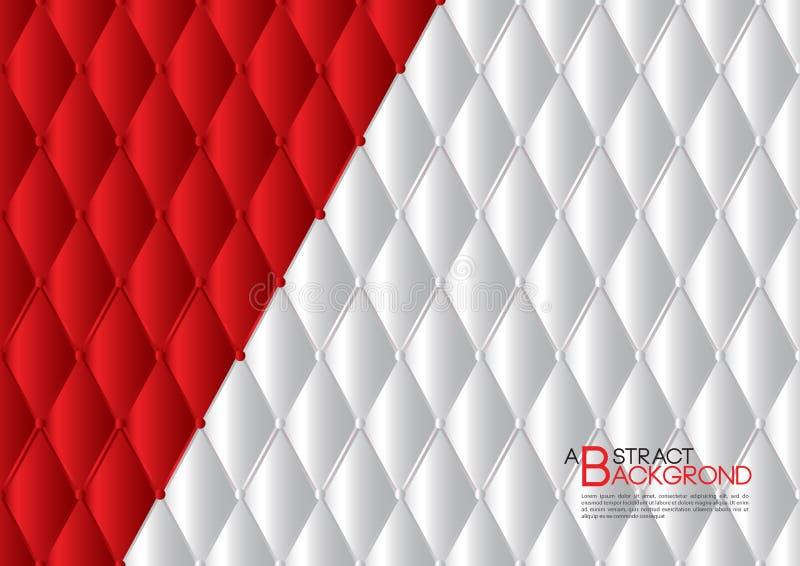 Illustrazione astratta bianca e rossa di vettore del fondo, disposizione del modello di copertura, aletta di filatoio di affari,  illustrazione vettoriale