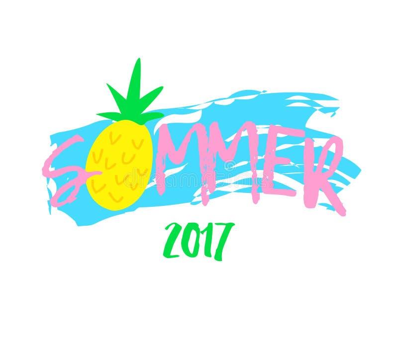 Illustrazione astratta con l'ananas di estate e del fumetto del testo su fondo bianco Stampa per le magliette Vettore illustrazione di stock