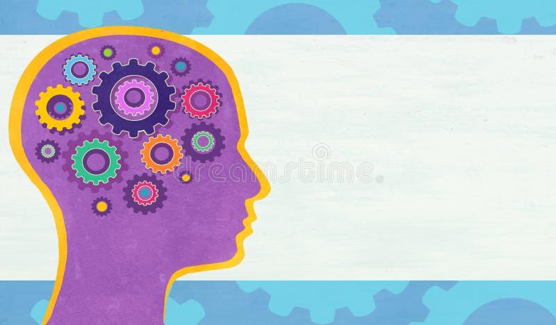 Illustrazione astratta con la testa umana con gli ingranaggi immagine stock libera da diritti