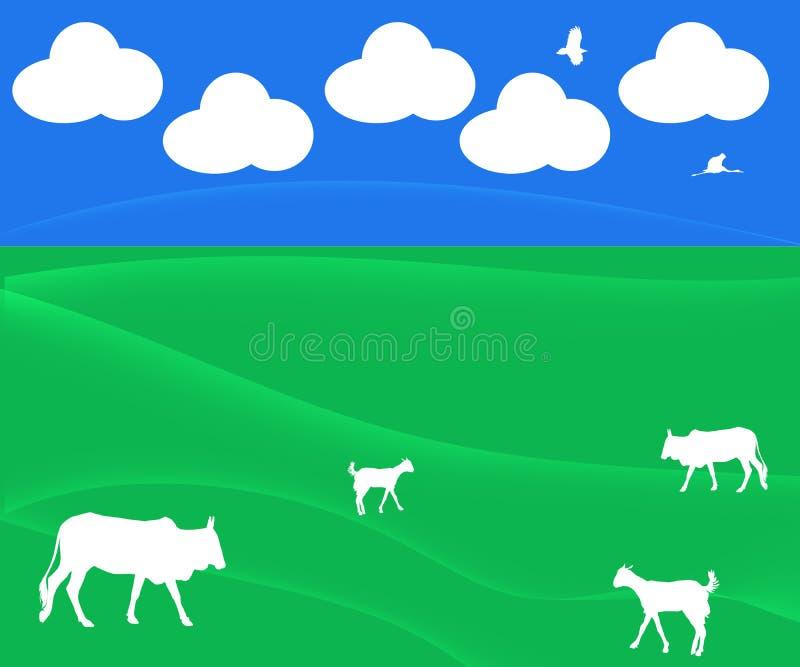 Illustrazione astratta con le nuvole, pascolo, bestiame del fondo illustrazione vettoriale