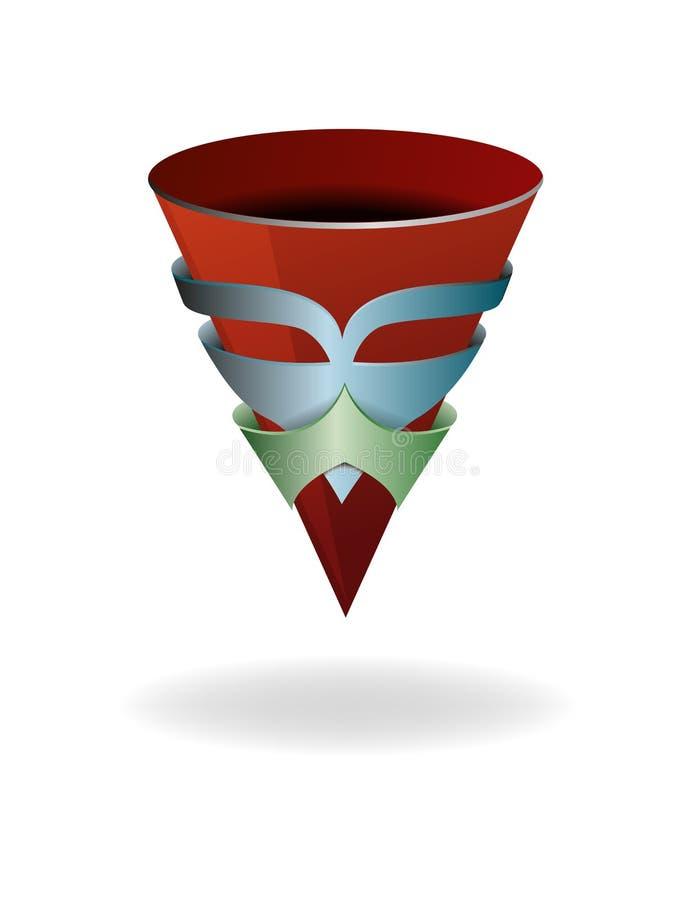 Illustrazione astratta con una tazza conica in una maschera illustrazione vettoriale