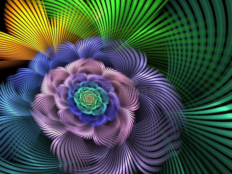 Illustrazione astratta del fiore di spirale di frattale illustrazione di stock