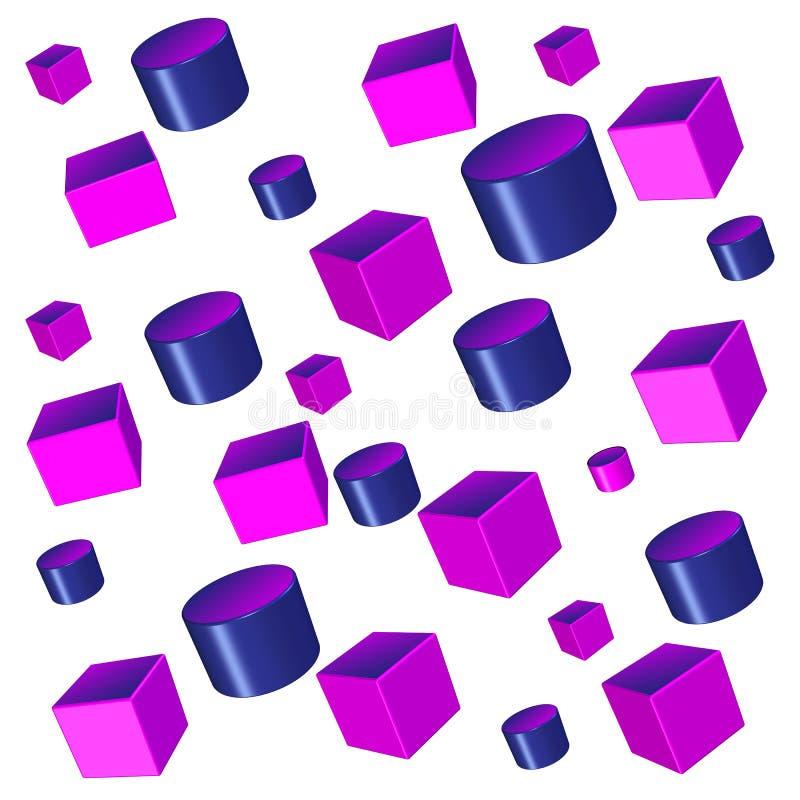 illustrazione astratta del fondo di forme geometriche 3D royalty illustrazione gratis