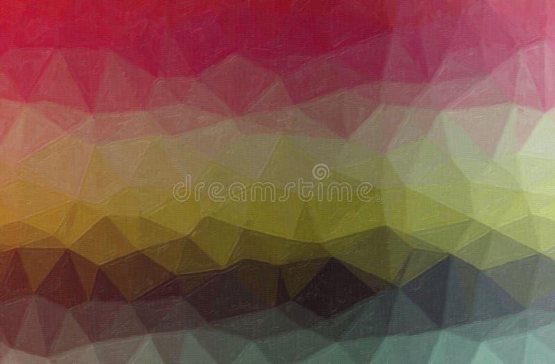 Illustrazione astratta del fondo verde, marrone, giallo e rosso della pittura a olio di contrasto fotografia stock