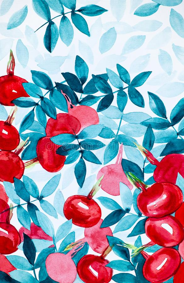 Illustrazione astratta dell'acquerello dei fiori e delle bacche del cinorrodo con le foglie fotografie stock