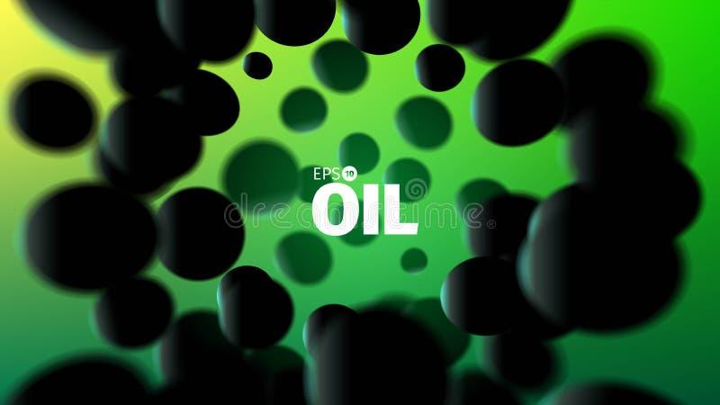 Illustrazione astratta dell'olio fondo di vettore 3D Sfere di gomma nere illustrazione di stock