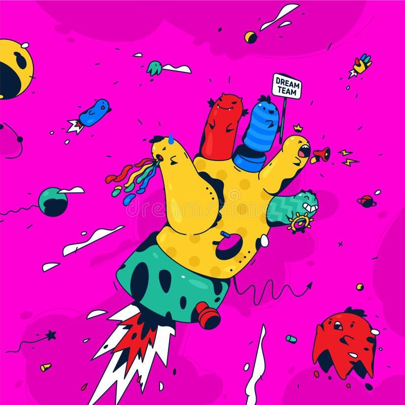 Illustrazione astratta della mano Vettore Mano surrealista con i caratteri delle dita nello spazio Rocket-mano, il simbolo del illustrazione vettoriale