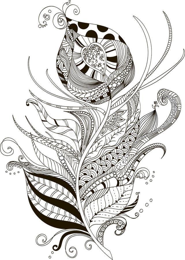Illustrazione astratta della piuma del pavone nello stile di scarabocchio immagine stock libera da diritti