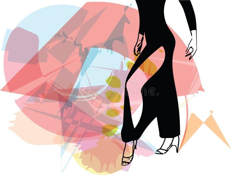 Illustrazione astratta delle gambe della donna di dancing del latino illustrazione vettoriale