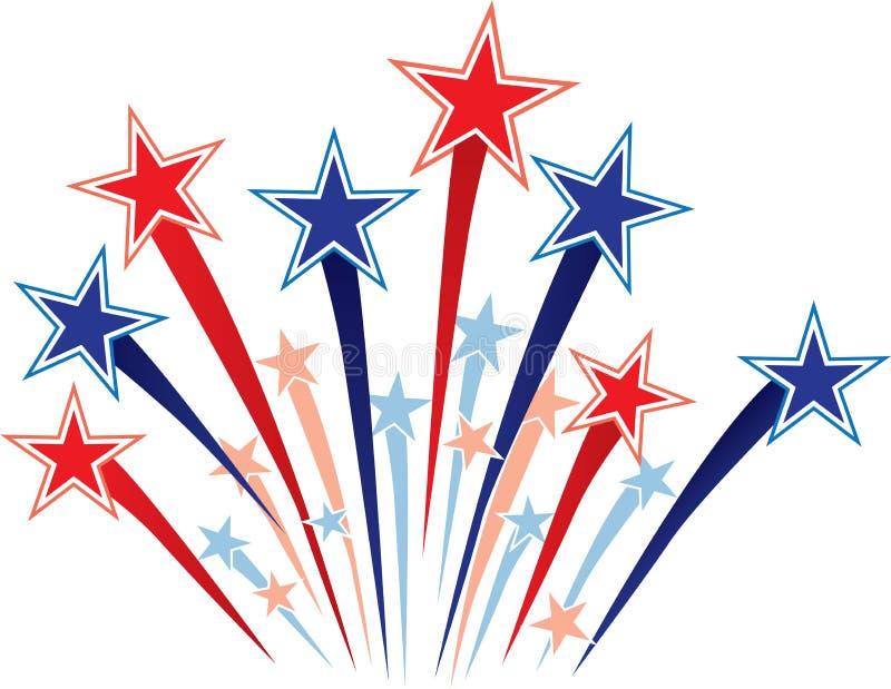 Illustrazione astratta delle stelle bianche & blu rosse royalty illustrazione gratis
