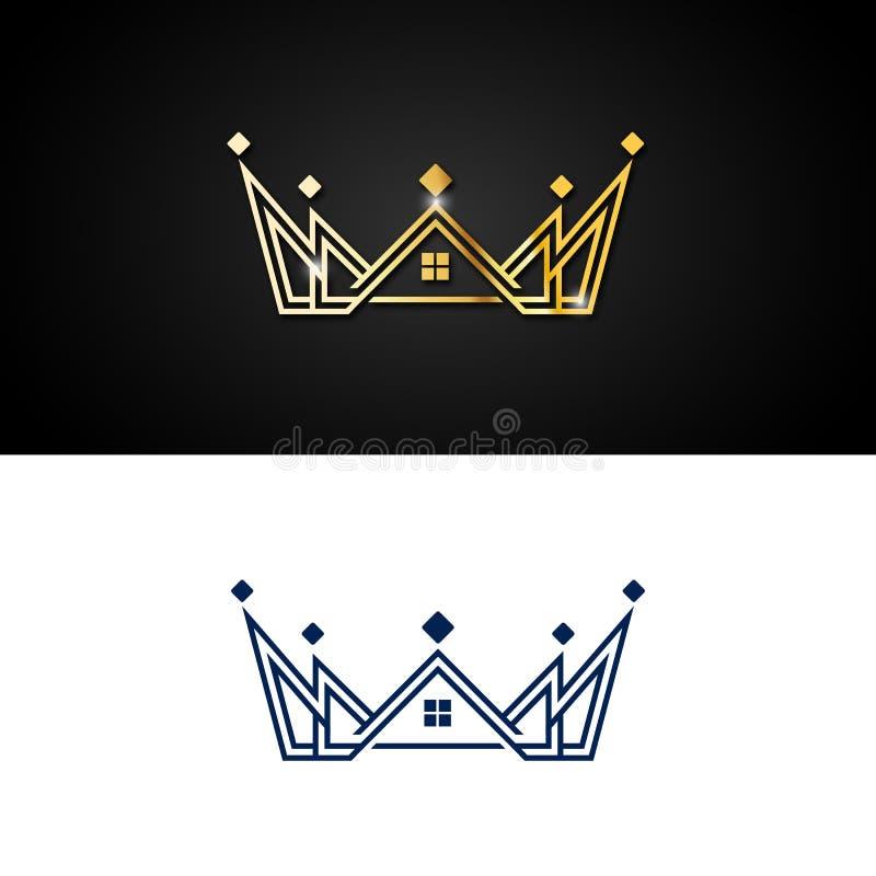 Illustrazione astratta di progettazione di logo della realtà della corona dell'oro illustrazione vettoriale