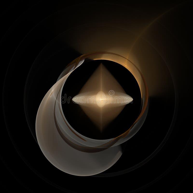 Illustrazione astratta di Ring Background 3D Spirale d'ardore Lustro rotondo con la sfera d'ardore della luce della copertura immagini stock libere da diritti
