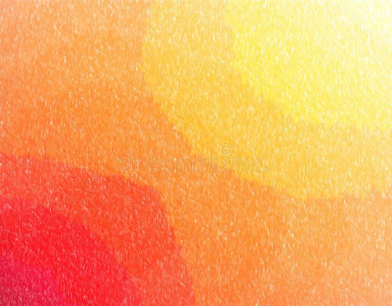 Illustrazione astratta di stordimento della pittura della matita di colore giallo, arancio e rosso Fondo piacevole per le vostre  illustrazione vettoriale