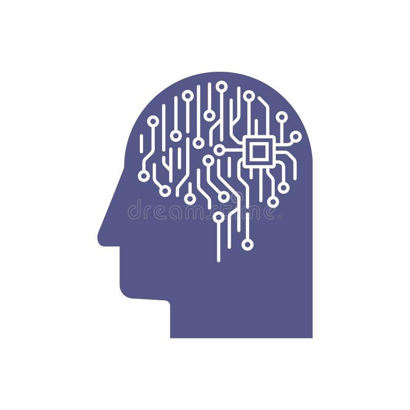 Illustrazione astratta di un cervello elettronico del circuito nel profilo, concetto di intelligenza artificiale di ai illustrazione di stock