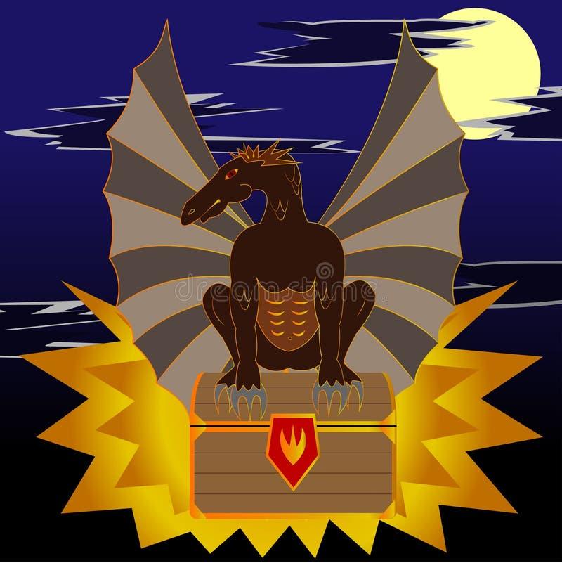 Illustrazione astratta di un drago che si siede sul petto illustrazione di stock