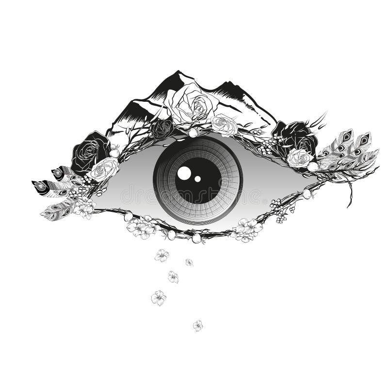Illustrazione astratta di un occhio con i fiori delle rose canine illustrazione di stock