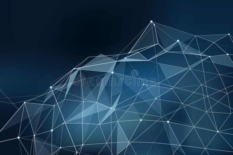 Illustrazione astratta di vettore con i punti collegati di tema della rete con le linee e le forme poligonali su bakcground scuro illustrazione vettoriale