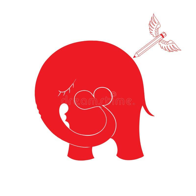Illustrazione astratta di vettore con l'elefante ed i cuori illustrazione vettoriale