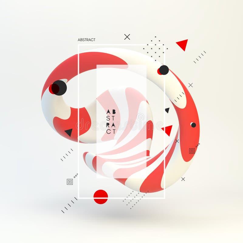 illustrazione astratta di vettore 3d Oggetto a strisce Te di progettazione della copertura illustrazione di stock