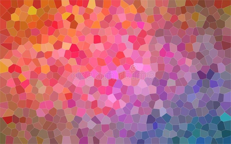 Illustrazione astratta piccolo del fondo luminoso rosa arancione e blu di esagono, digitalmente generata illustrazione di stock