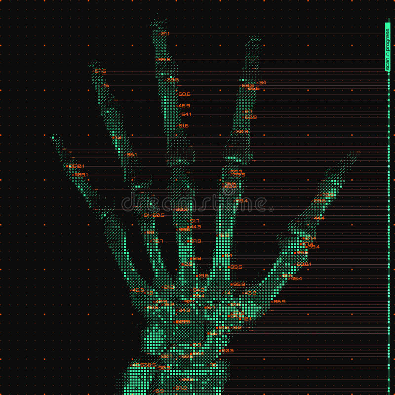 Illustrazione astratta verde di analisi di tomografia della mano di vettore Ricerca dei raggi x della palma di Digital Visualizza illustrazione di stock