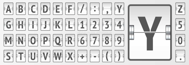 Illustrazione audace di vettore di alfabeto e dell'orario del bordo meccanico di vibrazione del terminale di aeroporto illustrazione di stock