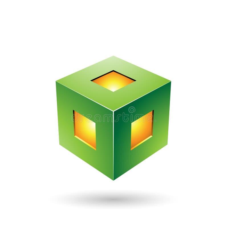 Illustrazione audace verde di vettore del cubo della lanterna illustrazione vettoriale