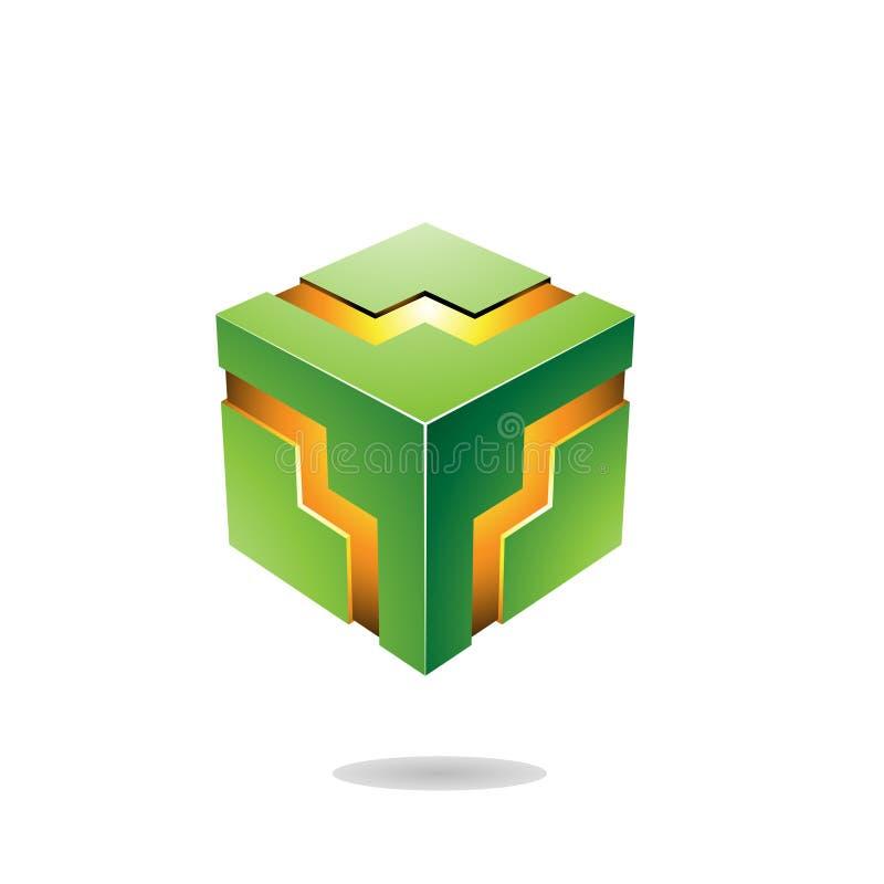 Illustrazione audace verde di vettore del cubo di zigzag illustrazione di stock
