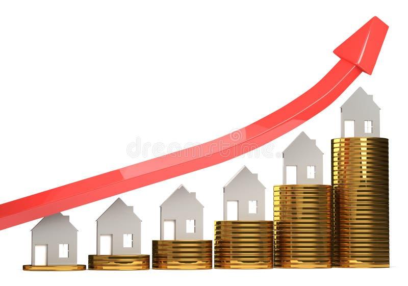 Illustrazione in aumento di prezzi della casa 3D illustrazione di stock