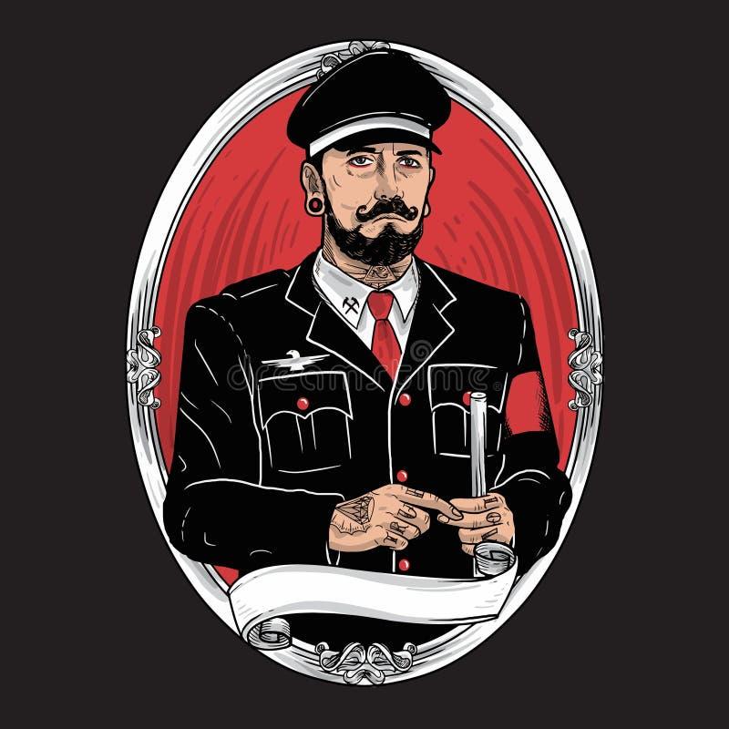 Illustrazione barbuta del tatuaggio dei baffi del carattere militare illustrazione vettoriale