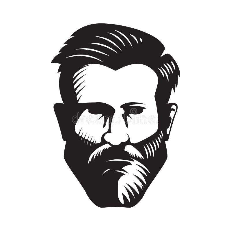 Illustrazione barbuta della testa dell'uomo isolata su fondo bianco royalty illustrazione gratis