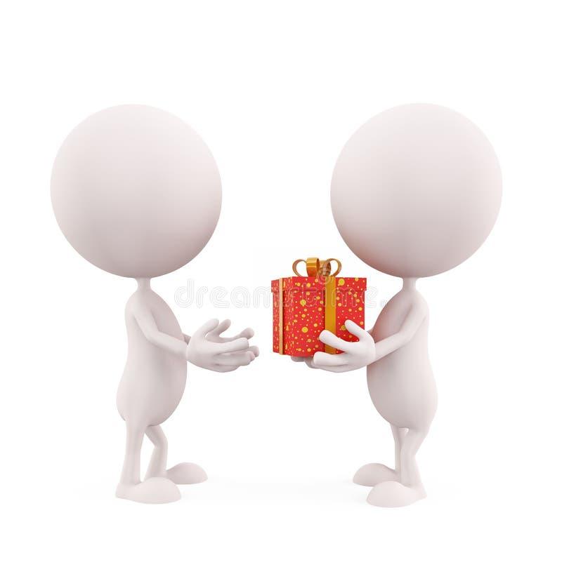 Illustrazione bianca del carattere con il contenitore di regalo fotografia stock libera da diritti