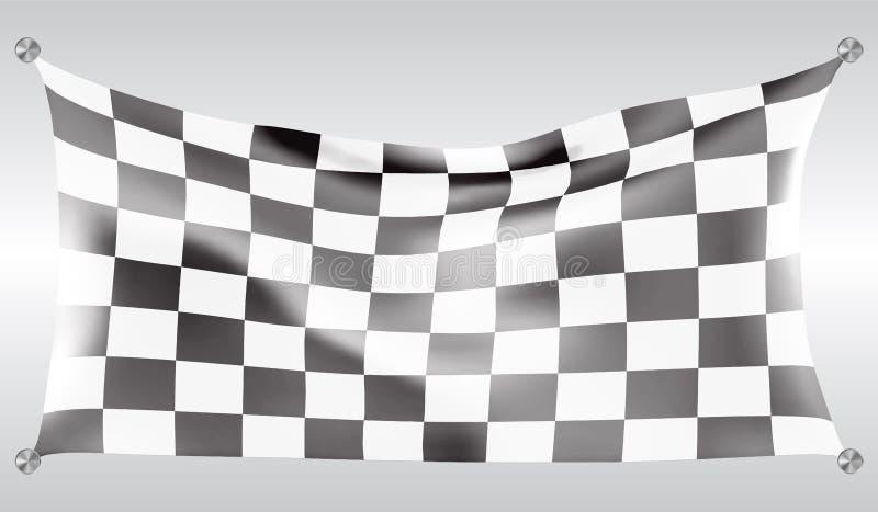 Illustrazione bianca del fondo della corsa di progettazione della bandiera dell'onda a quadretti di volo royalty illustrazione gratis